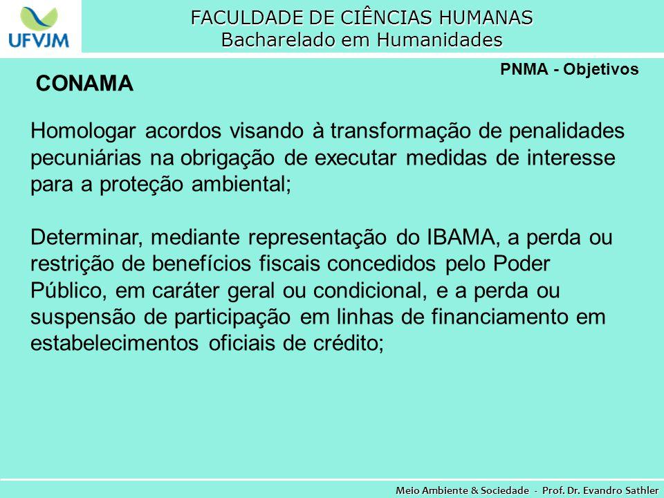FACULDADE DE CIÊNCIAS HUMANAS Bacharelado em Humanidades Meio Ambiente & Sociedade - Prof. Dr. Evandro Sathler PNMA - Objetivos Homologar acordos visa