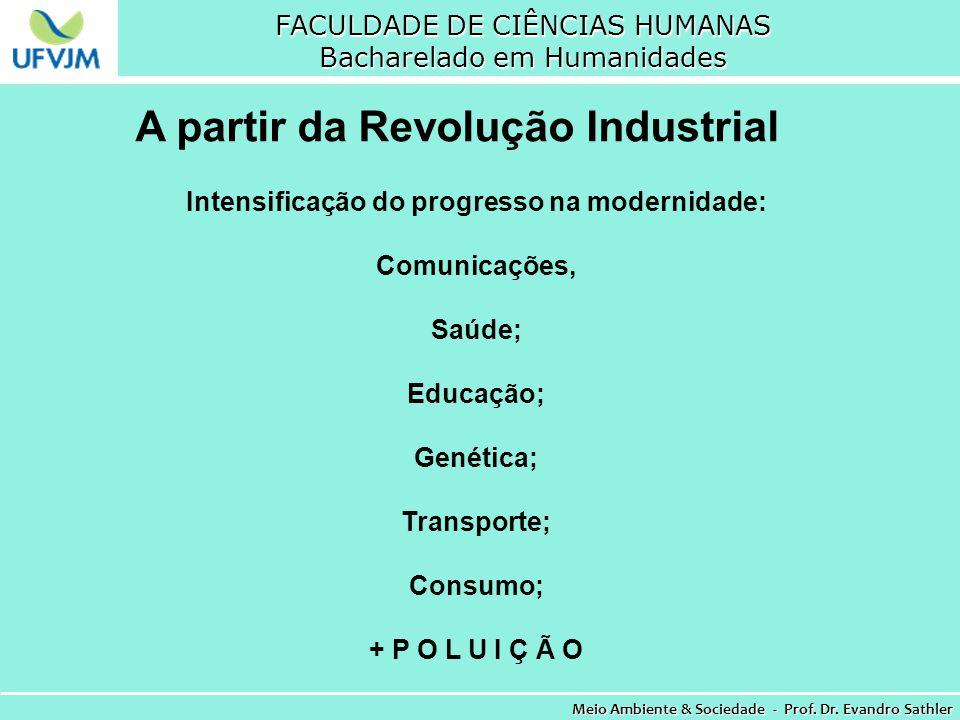 FACULDADE DE CIÊNCIAS HUMANAS Bacharelado em Humanidades Meio Ambiente & Sociedade - Prof. Dr. Evandro Sathler A partir da Revolução Industrial Intens