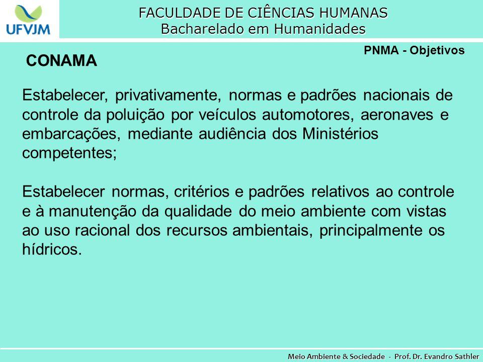 FACULDADE DE CIÊNCIAS HUMANAS Bacharelado em Humanidades Meio Ambiente & Sociedade - Prof. Dr. Evandro Sathler PNMA - Objetivos Estabelecer, privativa
