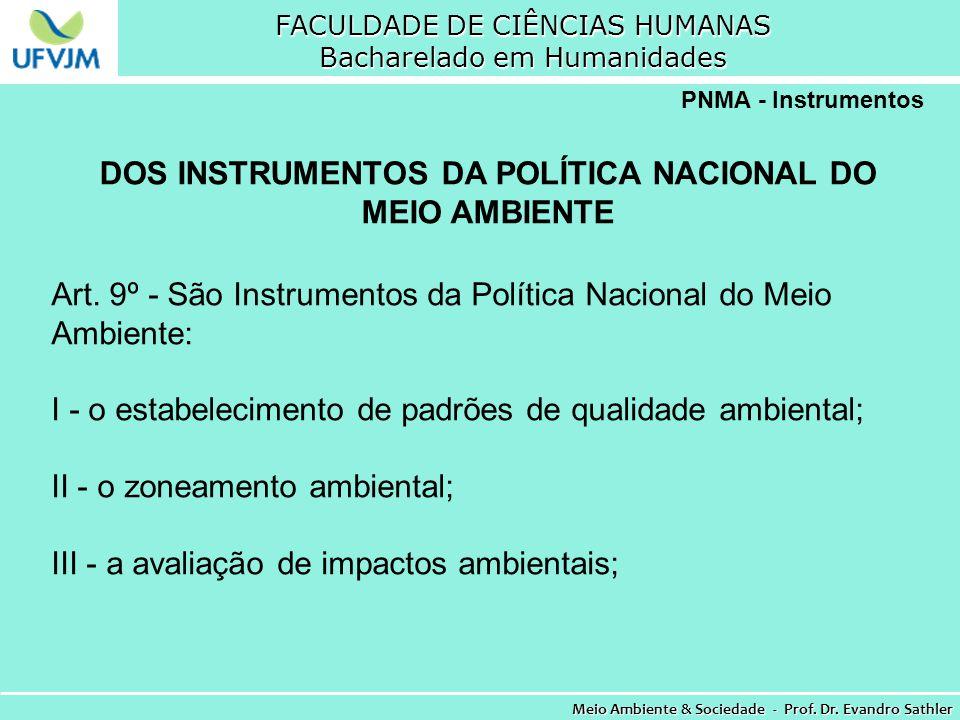 FACULDADE DE CIÊNCIAS HUMANAS Bacharelado em Humanidades Meio Ambiente & Sociedade - Prof. Dr. Evandro Sathler PNMA - Instrumentos DOS INSTRUMENTOS DA