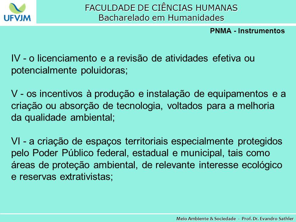 FACULDADE DE CIÊNCIAS HUMANAS Bacharelado em Humanidades Meio Ambiente & Sociedade - Prof. Dr. Evandro Sathler PNMA - Instrumentos IV - o licenciament