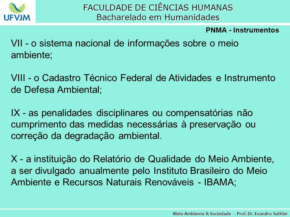 FACULDADE DE CIÊNCIAS HUMANAS Bacharelado em Humanidades Meio Ambiente & Sociedade - Prof. Dr. Evandro Sathler PNMA - Instrumentos VII - o sistema nac