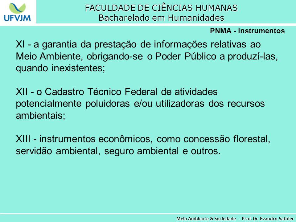 FACULDADE DE CIÊNCIAS HUMANAS Bacharelado em Humanidades Meio Ambiente & Sociedade - Prof. Dr. Evandro Sathler PNMA - Instrumentos XI - a garantia da