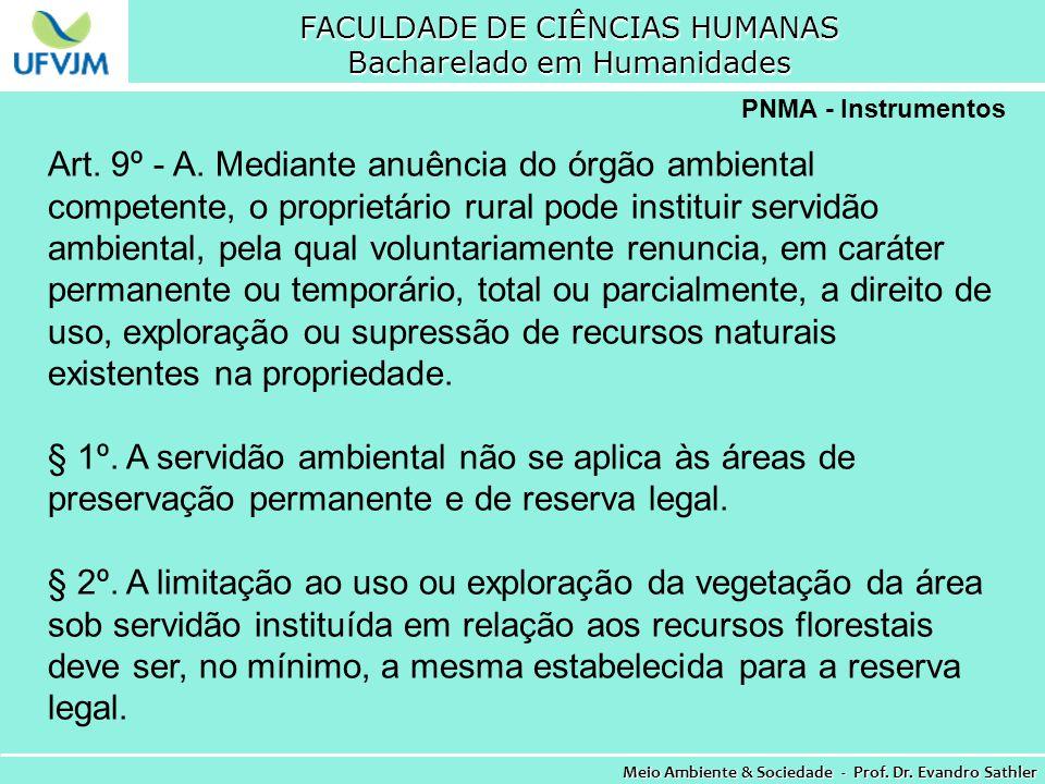 FACULDADE DE CIÊNCIAS HUMANAS Bacharelado em Humanidades Meio Ambiente & Sociedade - Prof. Dr. Evandro Sathler PNMA - Instrumentos Art. 9º - A. Median