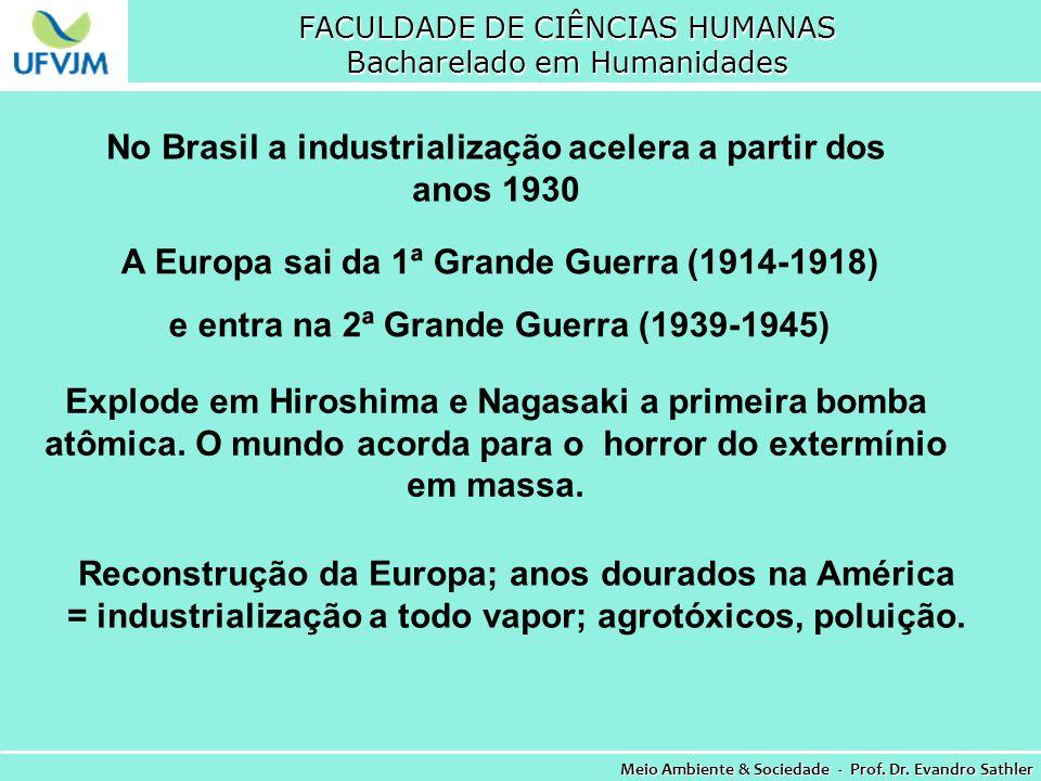 FACULDADE DE CIÊNCIAS HUMANAS Bacharelado em Humanidades Meio Ambiente & Sociedade - Prof. Dr. Evandro Sathler No Brasil a industrialização acelera a