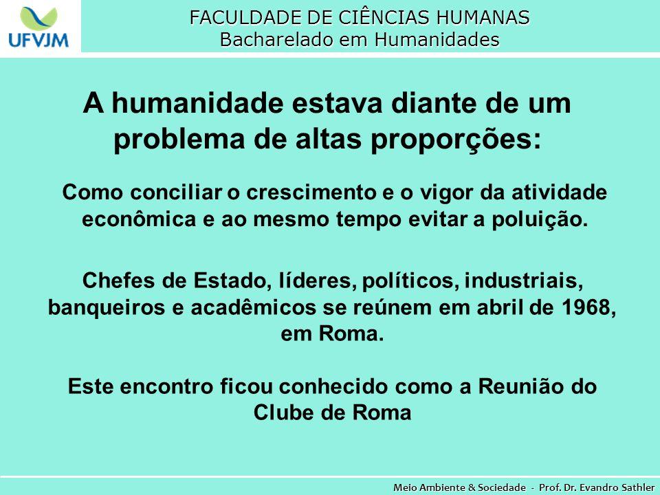 FACULDADE DE CIÊNCIAS HUMANAS Bacharelado em Humanidades Meio Ambiente & Sociedade - Prof. Dr. Evandro Sathler A humanidade estava diante de um proble