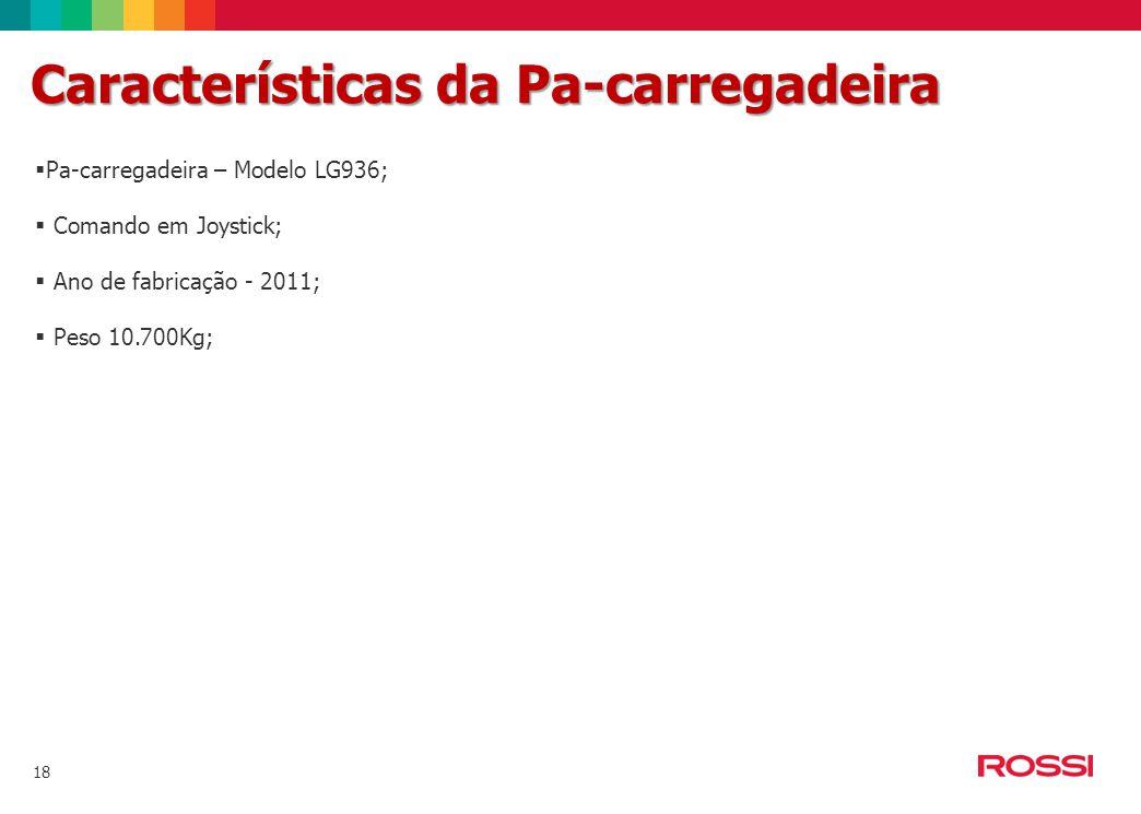 18 Características da Pa-carregadeira  Pa-carregadeira – Modelo LG936;  Comando em Joystick;  Ano de fabricação - 2011;  Peso 10.700Kg;