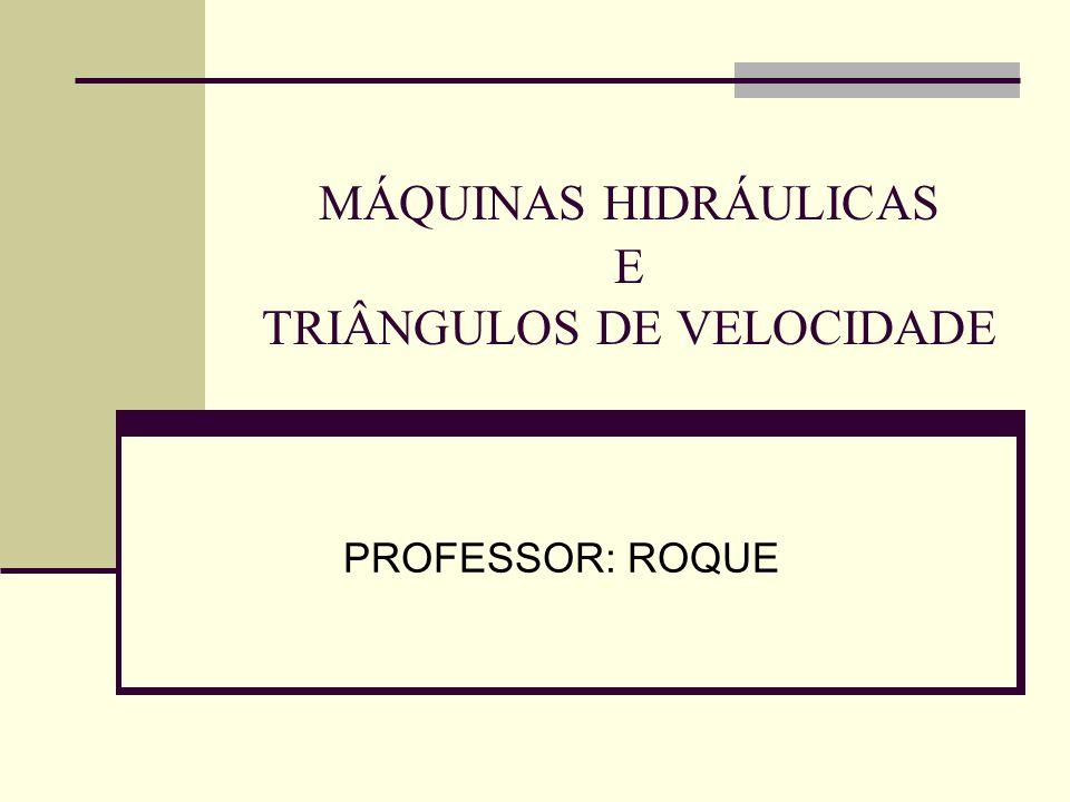 MÁQUINAS HIDRÁULICAS E TRIÂNGULOS DE VELOCIDADE PROFESSOR: ROQUE