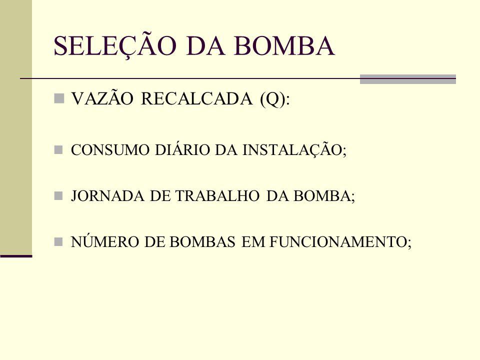 SELEÇÃO DA BOMBA VAZÃO RECALCADA (Q): CONSUMO DIÁRIO DA INSTALAÇÃO; JORNADA DE TRABALHO DA BOMBA; NÚMERO DE BOMBAS EM FUNCIONAMENTO;
