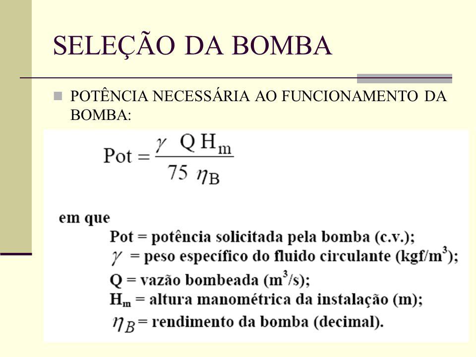 POTÊNCIA NECESSÁRIA AO FUNCIONAMENTO DA BOMBA: SELEÇÃO DA BOMBA