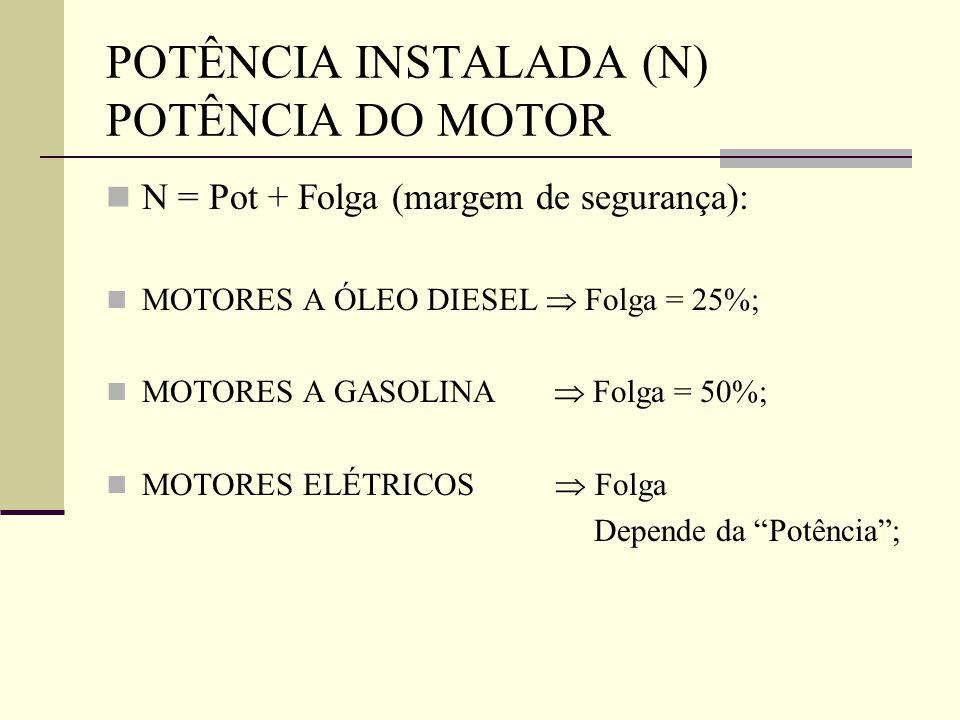 POTÊNCIA INSTALADA (N) POTÊNCIA DO MOTOR N = Pot + Folga (margem de segurança): MOTORES A ÓLEO DIESEL  Folga = 25%; MOTORES A GASOLINA  Folga = 50%;