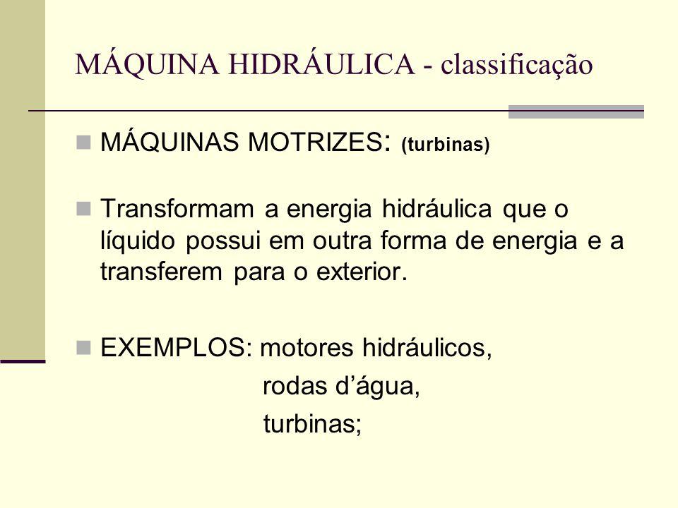 MÁQUINA HIDRÁULICA - classificação MÁQUINAS MOTRIZES : (turbinas) Transformam a energia hidráulica que o líquido possui em outra forma de energia e a