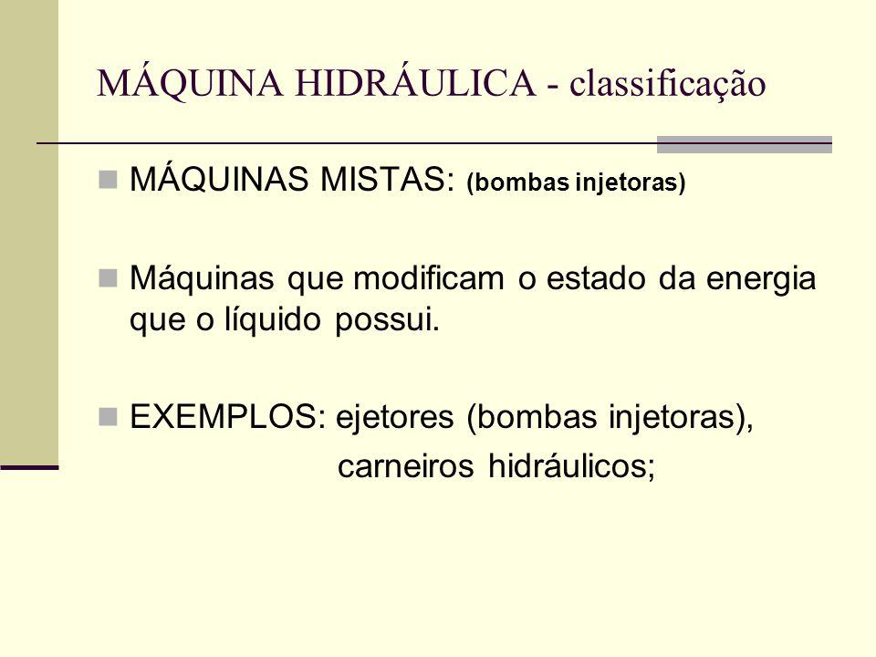 MÁQUINA HIDRÁULICA - classificação MÁQUINAS MISTAS: (bombas injetoras) Máquinas que modificam o estado da energia que o líquido possui. EXEMPLOS: ejet