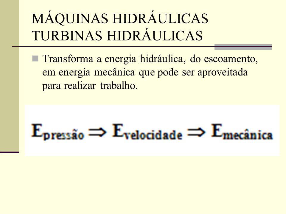 MÁQUINAS HIDRÁULICAS TURBINAS HIDRÁULICAS Transforma a energia hidráulica, do escoamento, em energia mecânica que pode ser aproveitada para realizar t