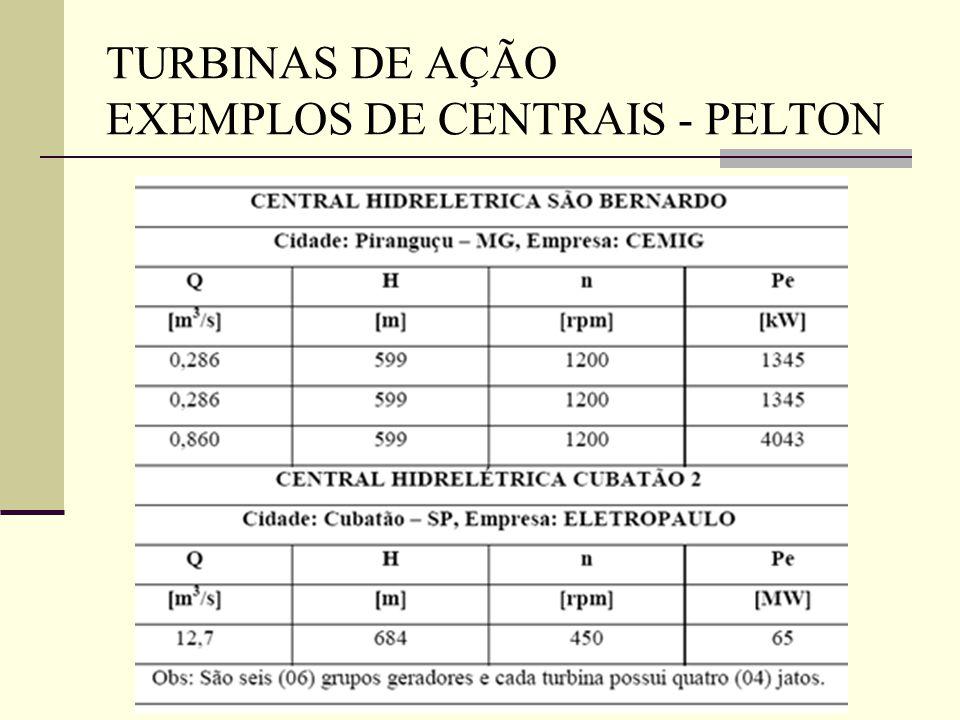 TURBINAS DE AÇÃO EXEMPLOS DE CENTRAIS - PELTON
