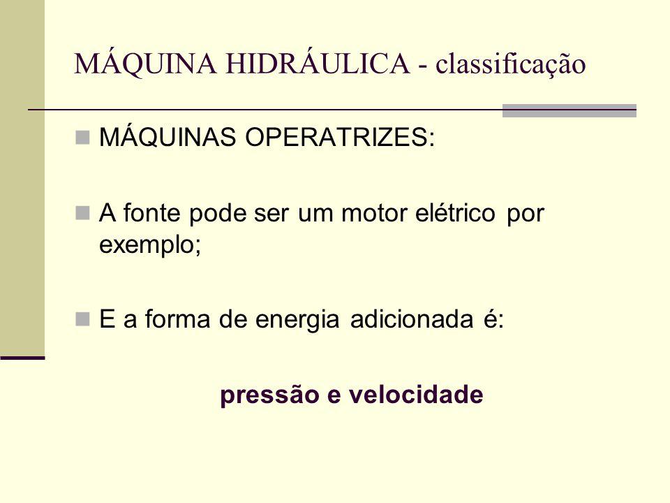 MÁQUINA HIDRÁULICA - classificação MÁQUINAS OPERATRIZES: A fonte pode ser um motor elétrico por exemplo; E a forma de energia adicionada é: pressão e