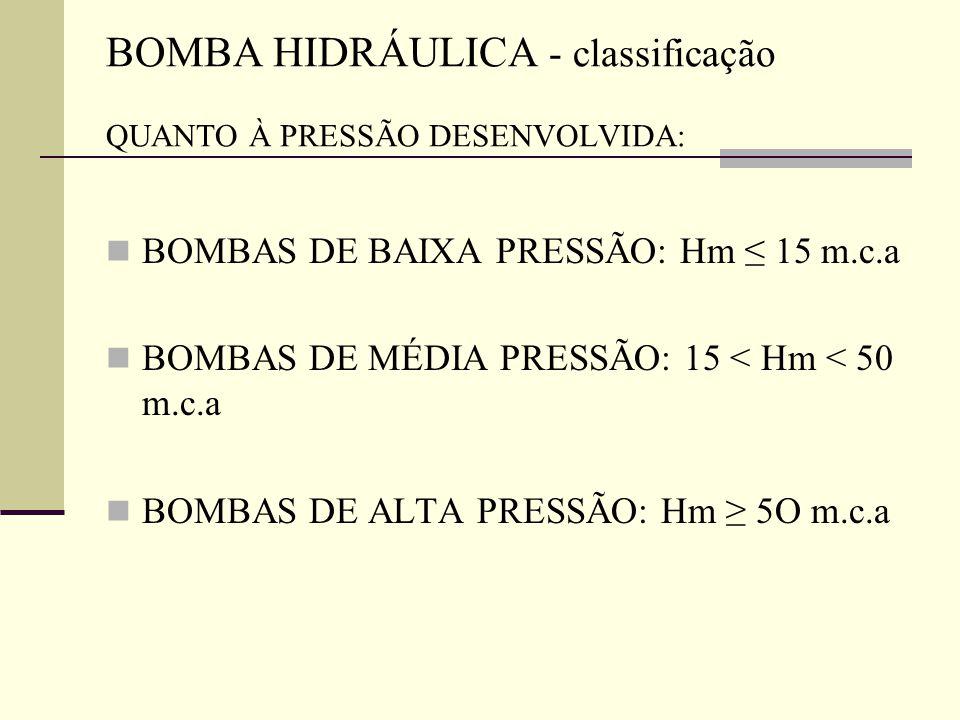 BOMBAS DE BAIXA PRESSÃO: Hm ≤ 15 m.c.a BOMBAS DE MÉDIA PRESSÃO: 15 < Hm < 50 m.c.a BOMBAS DE ALTA PRESSÃO: Hm ≥ 5O m.c.a BOMBA HIDRÁULICA - classifica