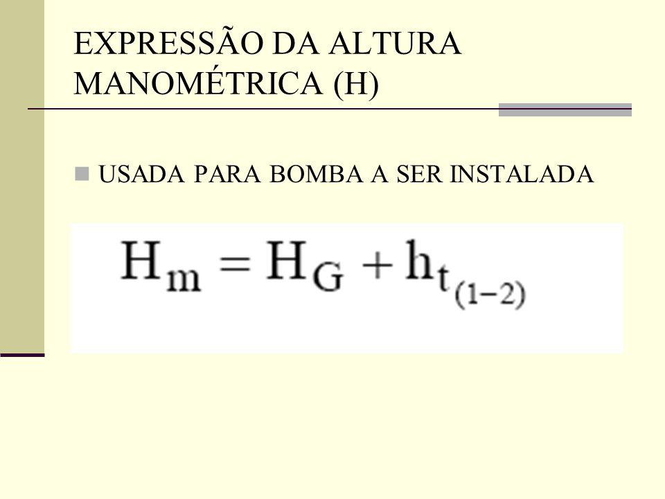EXPRESSÃO DA ALTURA MANOMÉTRICA (H) USADA PARA BOMBA A SER INSTALADA