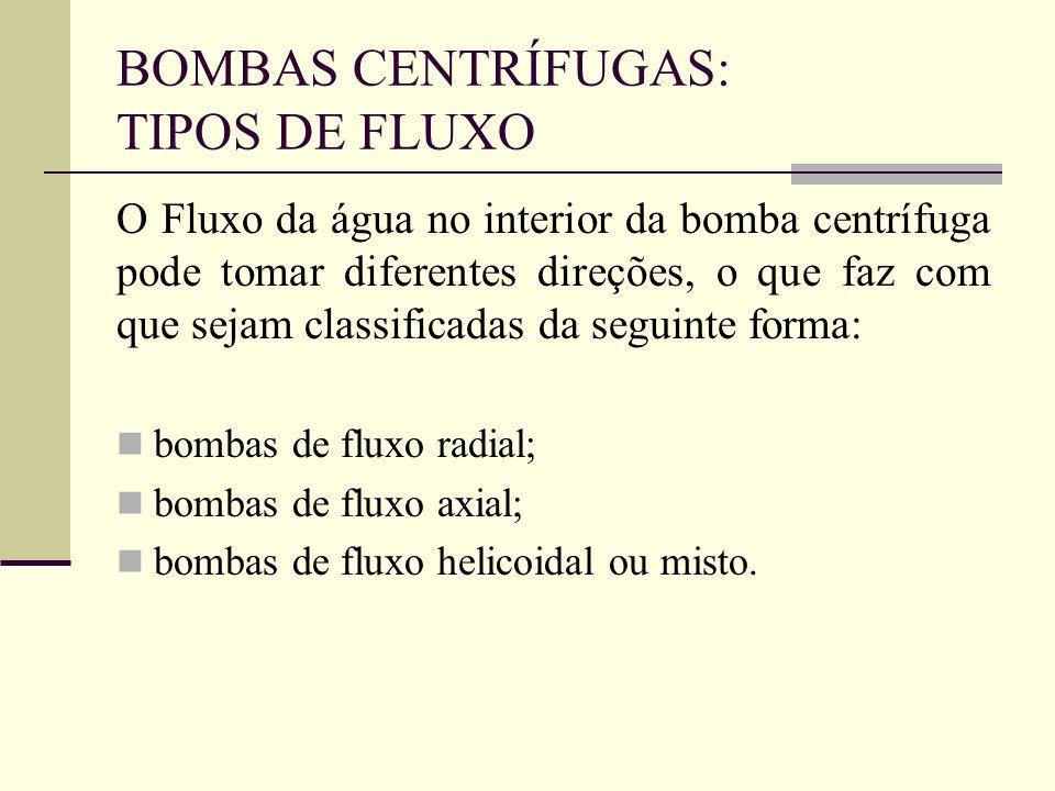 BOMBAS CENTRÍFUGAS: TIPOS DE FLUXO O Fluxo da água no interior da bomba centrífuga pode tomar diferentes direções, o que faz com que sejam classificad