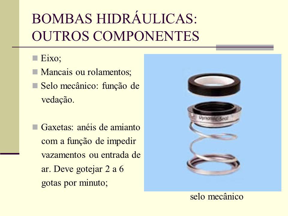 BOMBAS HIDRÁULICAS: OUTROS COMPONENTES Eixo; Mancais ou rolamentos; Selo mecânico: função de vedação. Gaxetas: anéis de amianto com a função de impedi