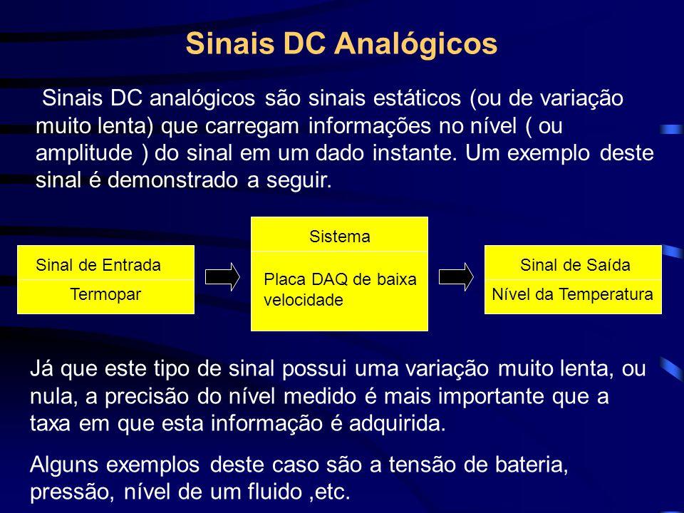 Sinais DC Analógicos Sinais DC analógicos são sinais estáticos (ou de variação muito lenta) que carregam informações no nível ( ou amplitude ) do sina