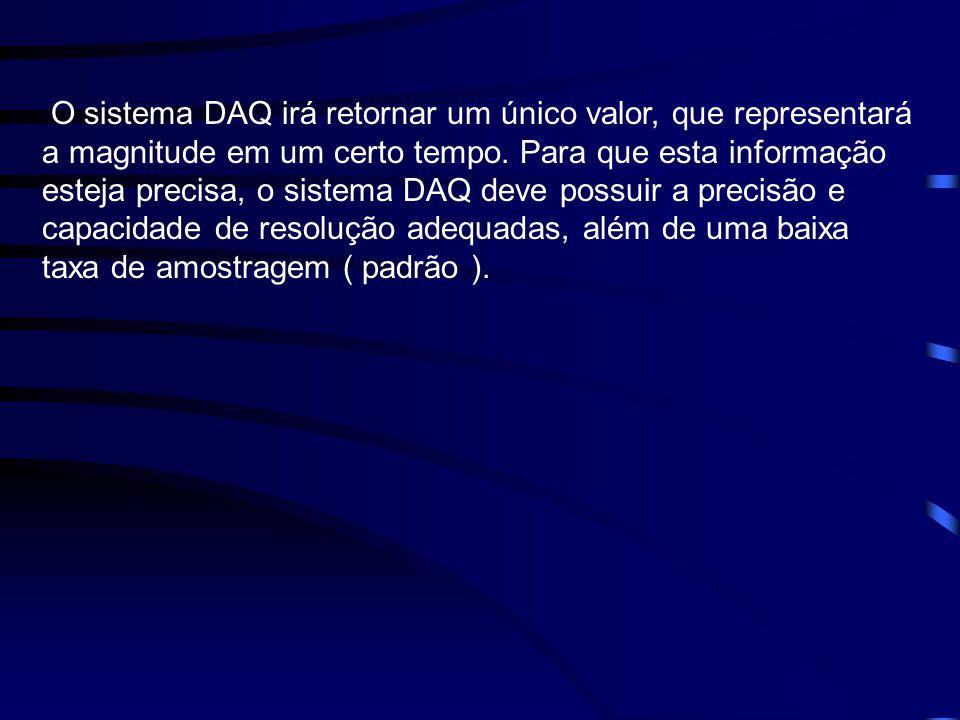 O sistema DAQ irá retornar um único valor, que representará a magnitude em um certo tempo. Para que esta informação esteja precisa, o sistema DAQ deve