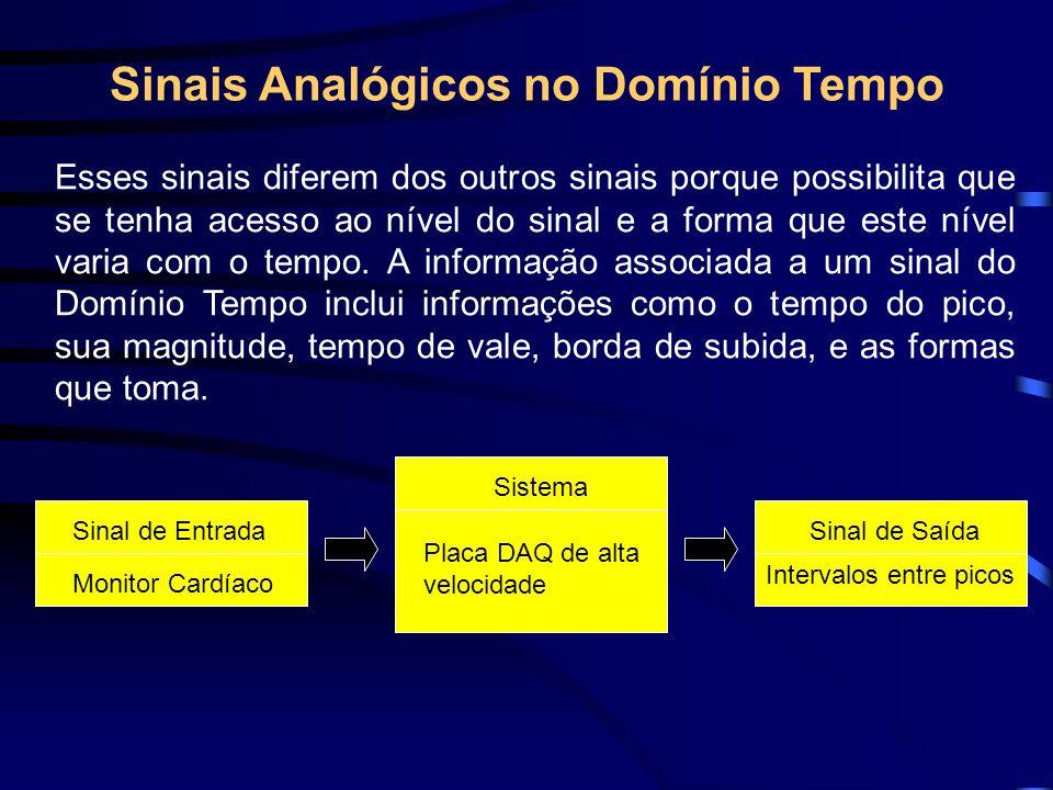Sinais Analógicos no Domínio Tempo Esses sinais diferem dos outros sinais porque possibilita que se tenha acesso ao nível do sinal e a forma que este