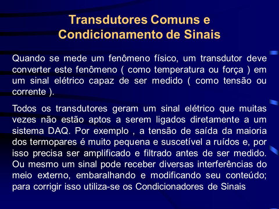 Transdutores Comuns e Condicionamento de Sinais Quando se mede um fenômeno físico, um transdutor deve converter este fenômeno ( como temperatura ou fo