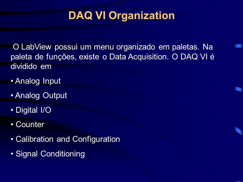 DAQ VI Organization O LabView possui um menu organizado em paletas. Na paleta de funções, existe o Data Acquisition. O DAQ VI é dividido em Analog Inp