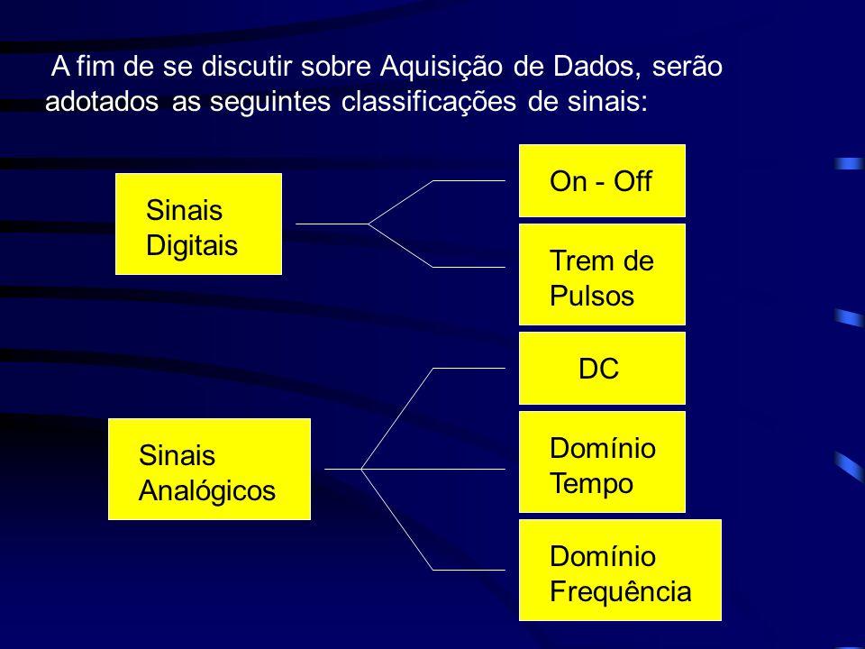 A fim de se discutir sobre Aquisição de Dados, serão adotados as seguintes classificações de sinais: Sinais Digitais Sinais Analógicos On - Off Trem d