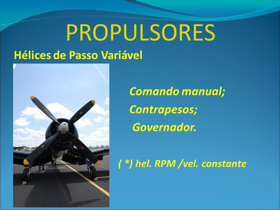 PROPULSORES Hélices de Passo Variável Comando manual; Contrapesos; Governador. ( *) hel. RPM /vel. constante