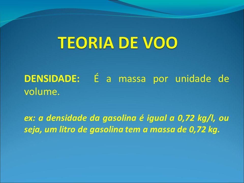 DENSIDADE: É a massa por unidade de volume. ex: a densidade da gasolina é igual a 0,72 kg/l, ou seja, um litro de gasolina tem a massa de 0,72 kg.