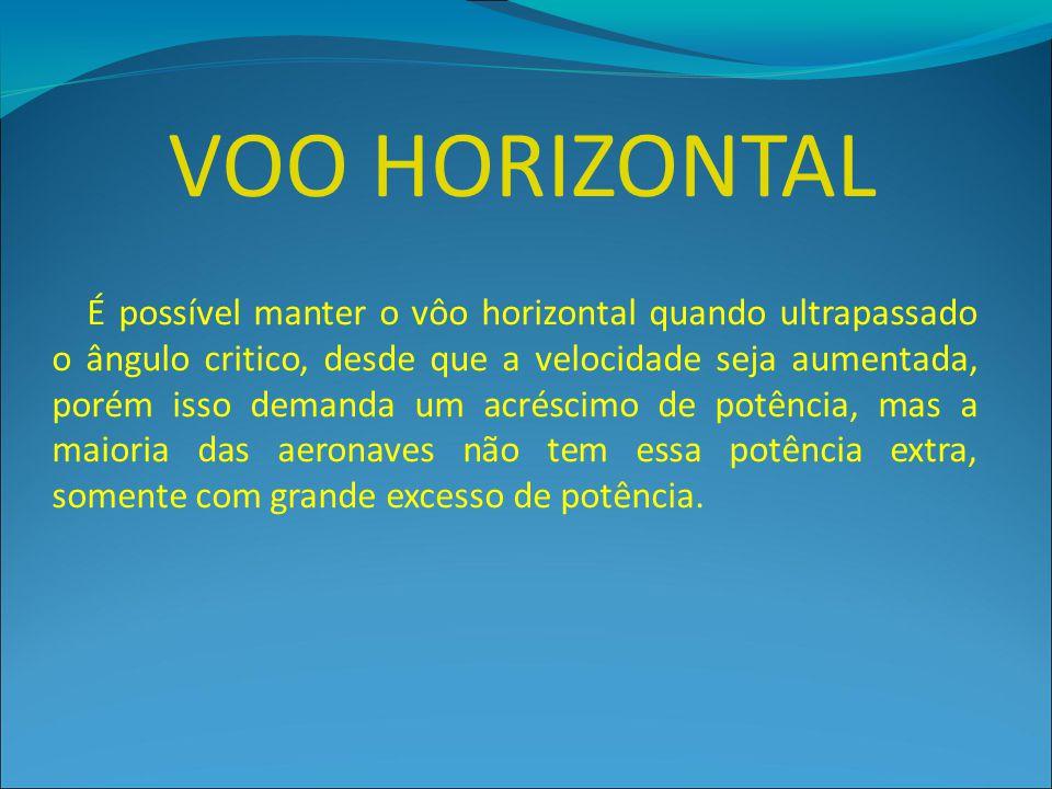 VOO HORIZONTAL É possível manter o vôo horizontal quando ultrapassado o ângulo critico, desde que a velocidade seja aumentada, porém isso demanda um a