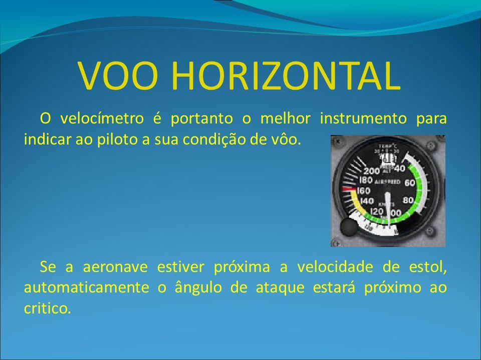 VOO HORIZONTAL O velocímetro é portanto o melhor instrumento para indicar ao piloto a sua condição de vôo. Se a aeronave estiver próxima a velocidade