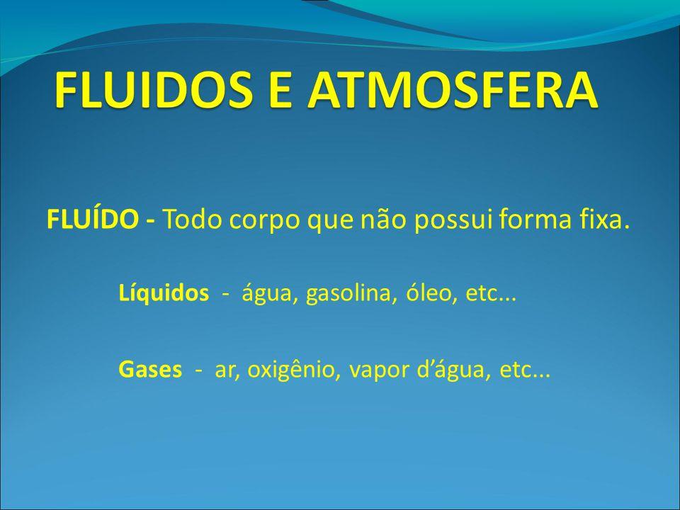 FLUÍDO - Todo corpo que não possui forma fixa. Líquidos - água, gasolina, óleo, etc... Gases - ar, oxigênio, vapor d'água, etc...