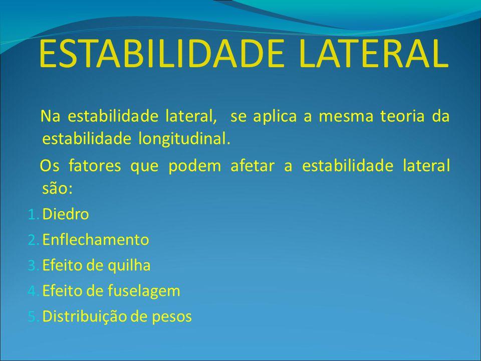 Na estabilidade lateral, se aplica a mesma teoria da estabilidade longitudinal. Os fatores que podem afetar a estabilidade lateral são: 1. Diedro 2. E