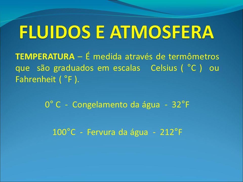 TEMPERATURA – É medida através de termômetros que são graduados em escalas Celsius ( °C ) ou Fahrenheit ( °F ). 0° C - Congelamento da água - 32°F 100