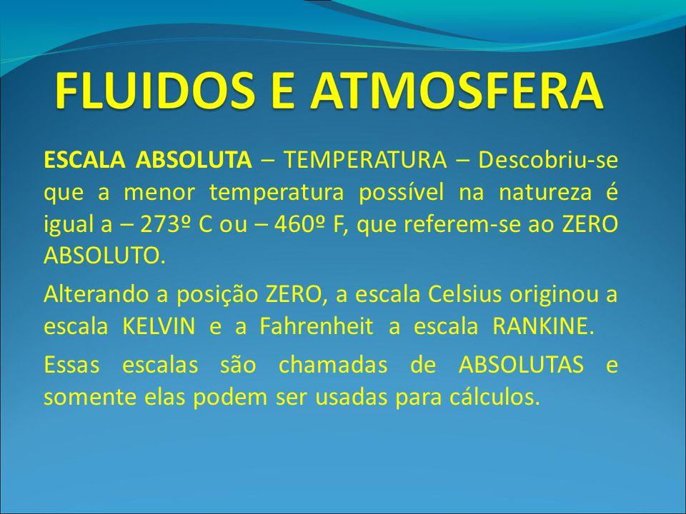 ESCALA ABSOLUTA – TEMPERATURA – Descobriu-se que a menor temperatura possível na natureza é igual a – 273º C ou – 460º F, que referem-se ao ZERO ABSOL