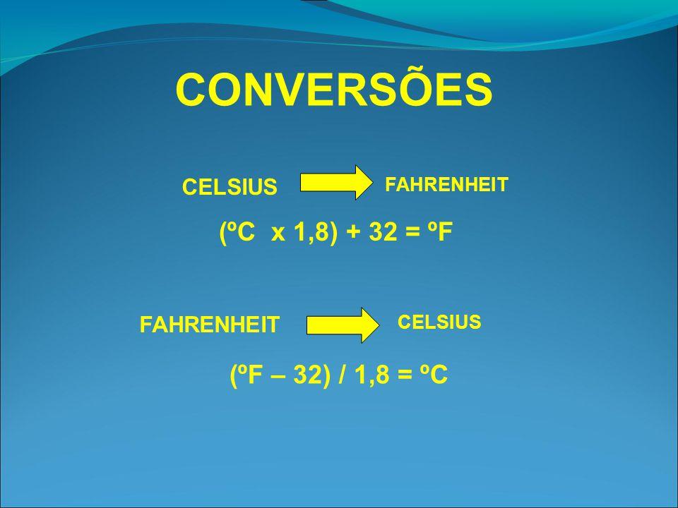 CONVERSÕES CELSIUS FAHRENHEIT CELSIUS FAHRENHEIT (ºC x 1,8) + 32 = ºF (ºF – 32) / 1,8 = ºC