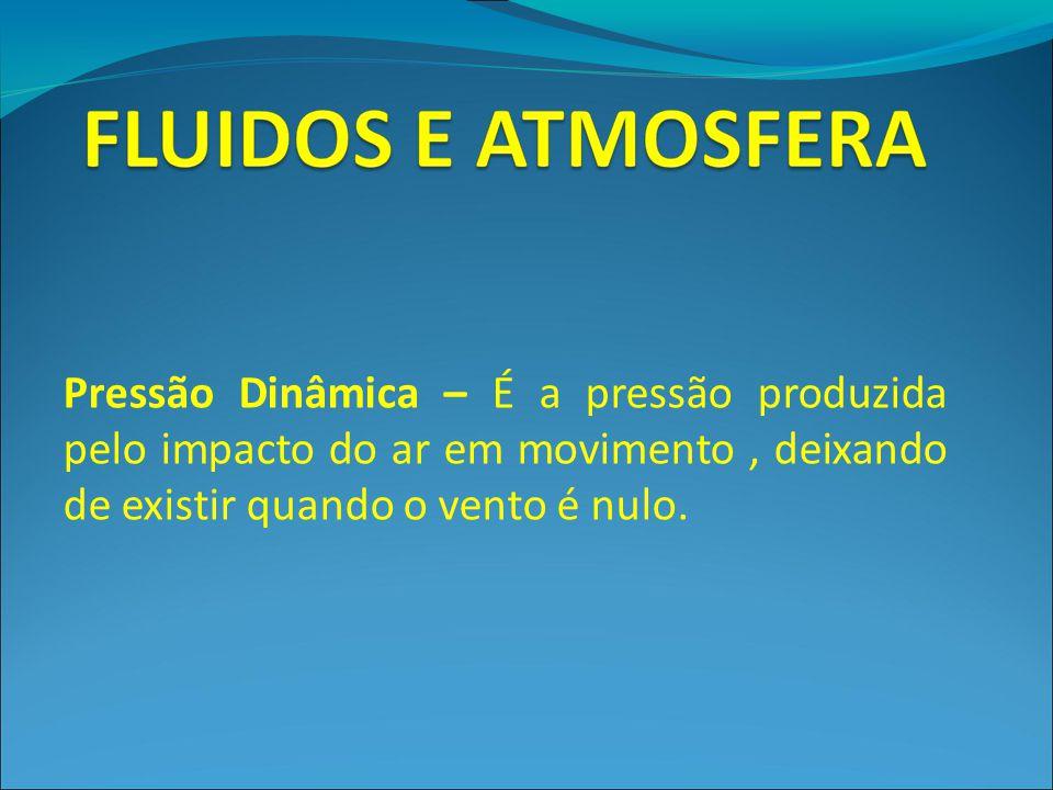 Pressão Dinâmica – É a pressão produzida pelo impacto do ar em movimento, deixando de existir quando o vento é nulo.