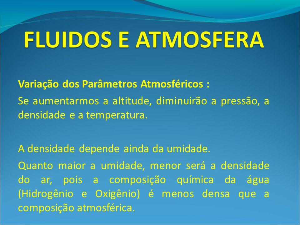 Variação dos Parâmetros Atmosféricos : Se aumentarmos a altitude, diminuirão a pressão, a densidade e a temperatura. A densidade depende ainda da umid
