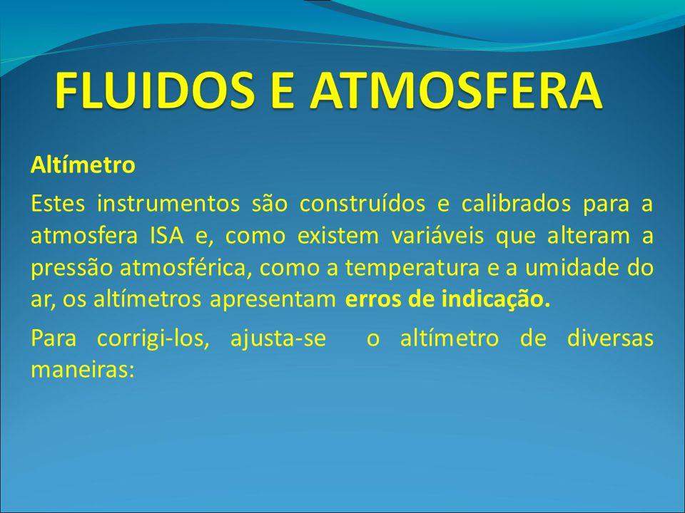 Altímetro Estes instrumentos são construídos e calibrados para a atmosfera ISA e, como existem variáveis que alteram a pressão atmosférica, como a tem