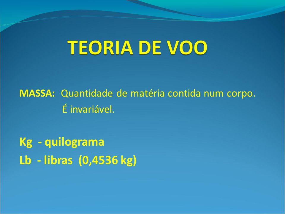 MASSA: Quantidade de matéria contida num corpo. É invariável. Kg - quilograma Lb - libras (0,4536 kg)