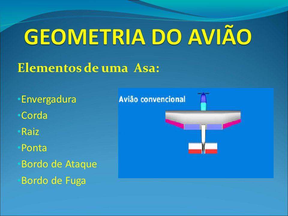 Elementos de uma Asa: Envergadura Corda Raiz Ponta Bordo de Ataque Bordo de Fuga