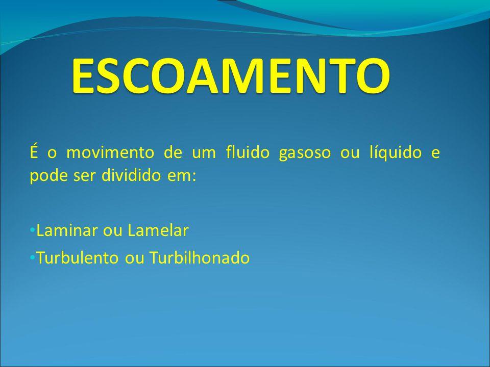 É o movimento de um fluido gasoso ou líquido e pode ser dividido em: Laminar ou Lamelar Turbulento ou Turbilhonado