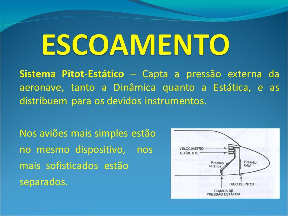 Sistema Pitot-Estático – Capta a pressão externa da aeronave, tanto a Dinâmica quanto a Estática, e as distribuem para os devidos instrumentos. Nos av