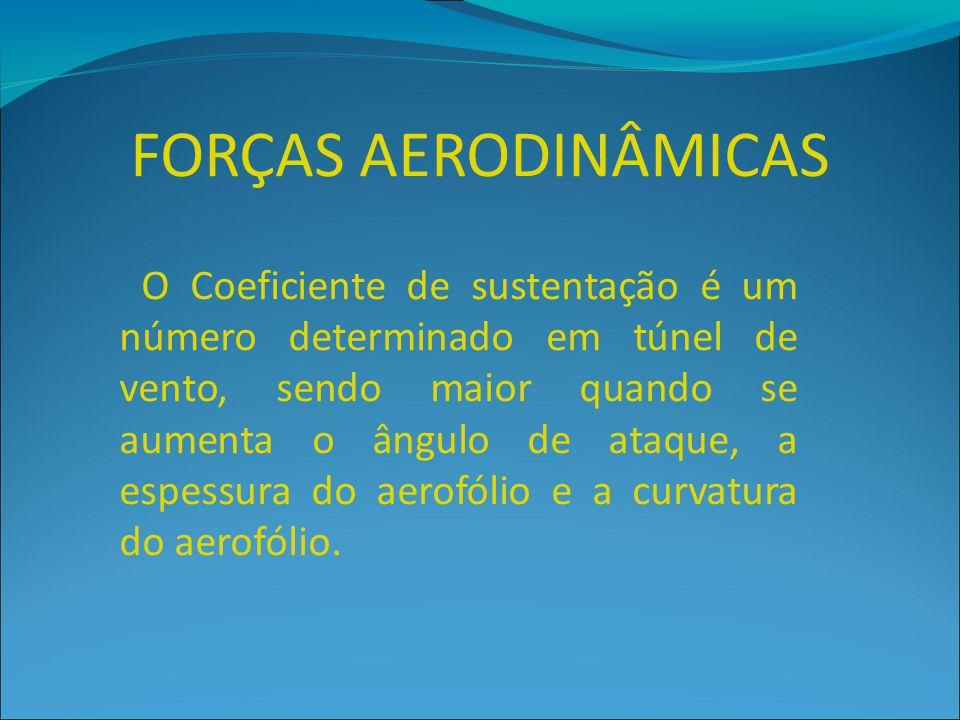 FORÇAS AERODINÂMICAS O Coeficiente de sustentação é um número determinado em túnel de vento, sendo maior quando se aumenta o ângulo de ataque, a espes