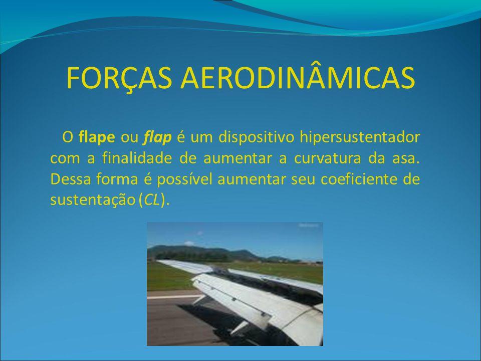 FORÇAS AERODINÂMICAS O flape ou flap é um dispositivo hipersustentador com a finalidade de aumentar a curvatura da asa. Dessa forma é possível aumenta