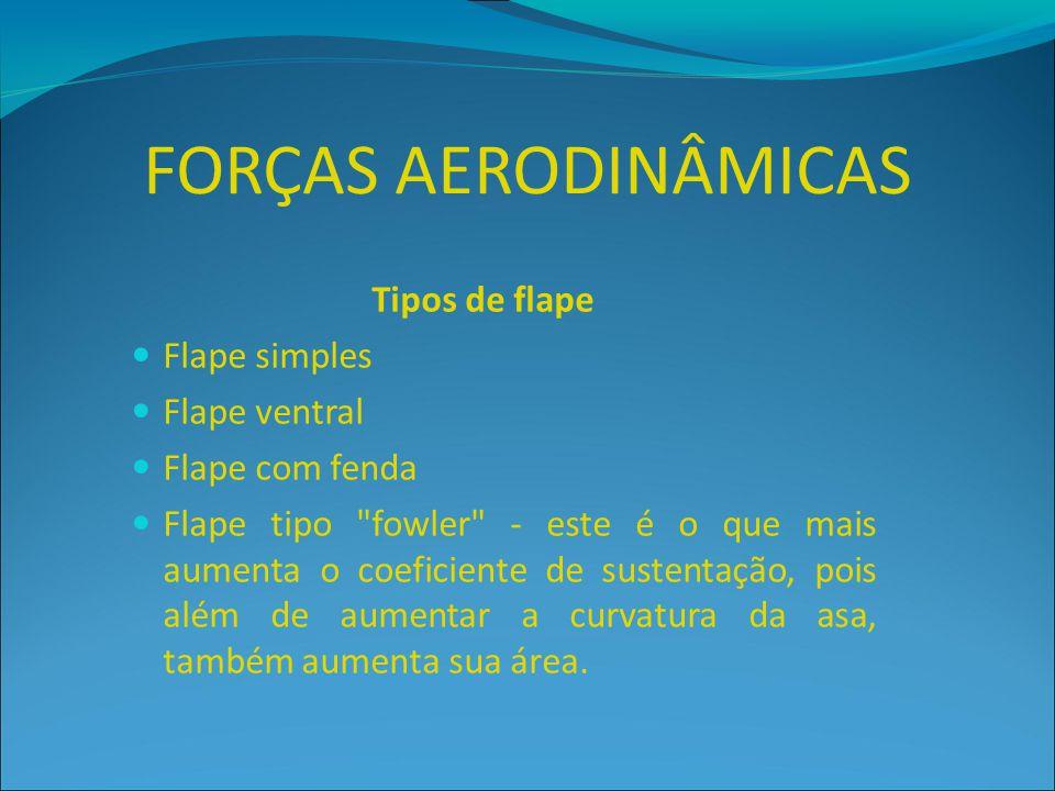 FORÇAS AERODINÂMICAS Tipos de flape Flape simples Flape ventral Flape com fenda Flape tipo