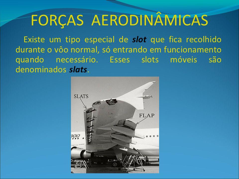 FORÇAS AERODINÂMICAS Existe um tipo especial de slot que fica recolhido durante o vôo normal, só entrando em funcionamento quando necessário. Esses sl